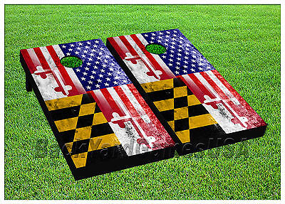 CORNHOLE BEANBAG TOSS GAME w Bags Game Boards American Maryland Flag Set 1027