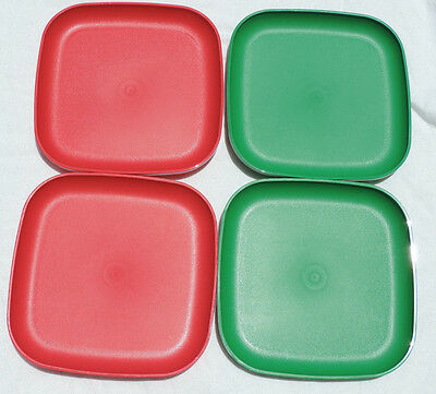 Lot of 4 Tupperware 8 Inch Plates Christmas Red Green NEW