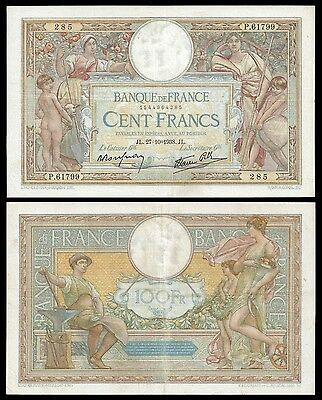 France 100 Francs MERSON 27.10.1938 P 86b VF+