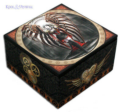 "Anne Stokes Trinket Jewellery Box with Mirror: ""Avenger"" Gothic Steampunk Angel"