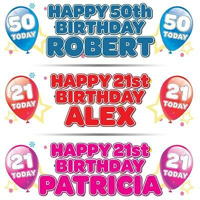 """2 PERSONALISED BIRTHDAY BANNER 3ft - 36 """"x 11"""" 1st 18th 21st 30th 40th  ANY AGE"""