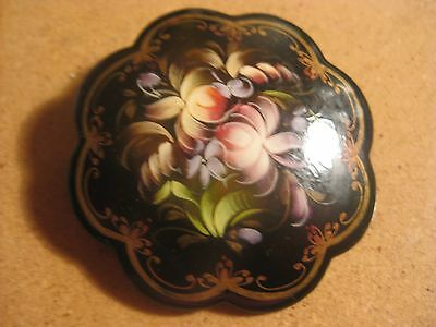 Signed Russian? Handpainted Floral Flower Pin Brooch