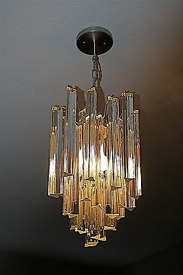 Camer Glass Chandelier with Venini Triedri Prisms