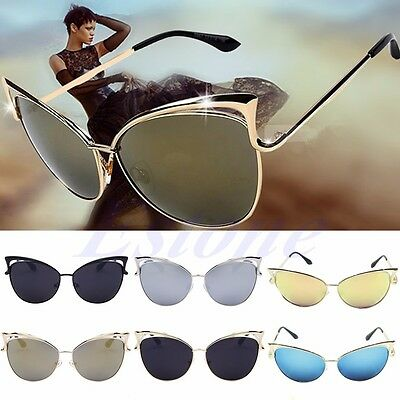 New Womens Retro Vintage Cat Eye Sunglasses Metal Frame Oversized Shades Glasses