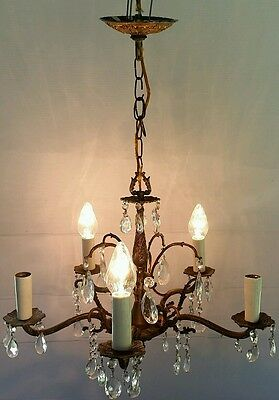Vintage Large Brass and Multiple Crystal Chandelier 5 Bulb Light 21 w x 16.5 h