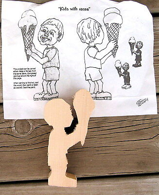 Basswood Boy or Girl w/Ice Cream Cone Wood Carving Blank, Cutout w/Pattern Carve