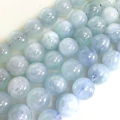 Wholesale Natural Smooth Aquamarine Round Spacer Beads 4 6 8 10mm Free Shipping