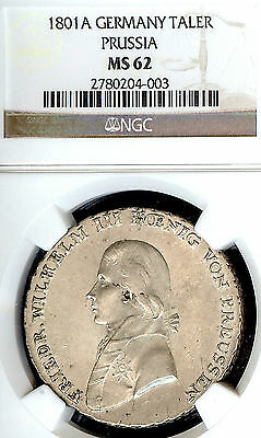 German States Prussia 1801 A Taler Coin Thaler NGC MS 62 F.Stg  Deutschland RARE