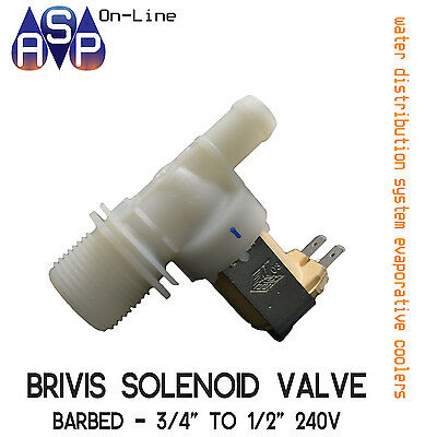"Brivis 3/4"" To 1/2"" Barb Valve Solenoid 240V For Evap. Cooler - Part# B019245"
