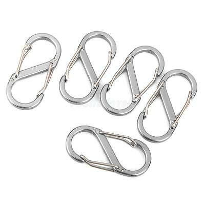 5Pcs Carabiner Spring Snap Clip Hook Keychain Hiking Bottle S Shaped buckles