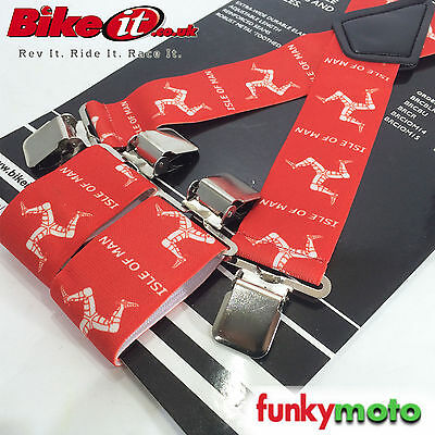 Heavy Duty Isle Of Man Tt Braces Elasticated Strong Motorcycle Universal Red