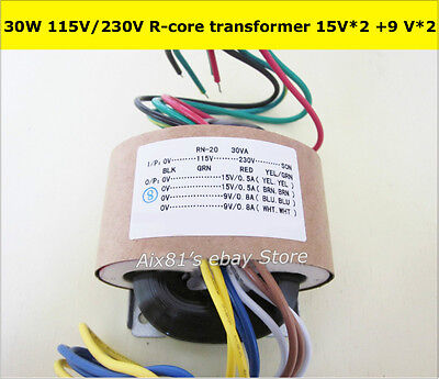 115V/230V 30W High Quality Audio R-Core Transformer 15V+15V 9V+9V For Preamp