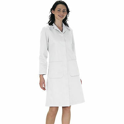 Ladies coat - white food labaratory doctors medical hygiene warehouse work LW63