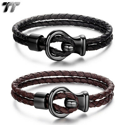 TT Genuine Leather With Black 316L Stainless Steel Buckle Wristband (BR176) NEW