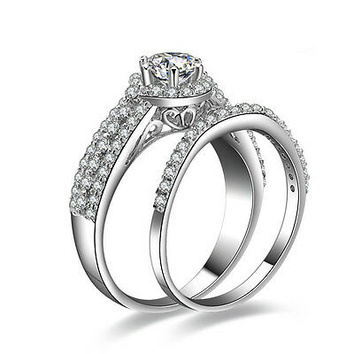 JewelryPalace1.5ct Brilliant AAA CZ Engagement Ring Set 925 SterlingSilver Round