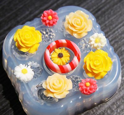 Multi-Clear-silicone Ring Molds 4 PS+1 flower,size 5 A20 8 9. 6.75