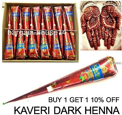 2 X Darkest Herbal Henna Mehndi Tattoo  Kit Paste Cones -  100% Colour Guarantee