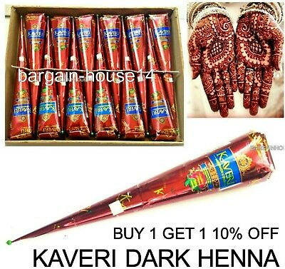 5 X Darkest Herbal Henna Mehndi Tattoo  Kit Paste Cones -  100% Colour Guarantee