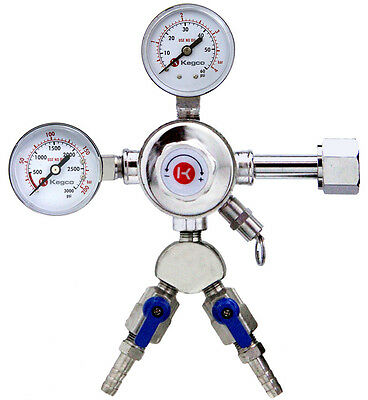 Kegco 542-2 Dual Product Pro Series Double Gauge Co2 Kegerator  Beer Regulator