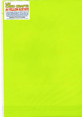 A4 Yellow Acetate X 5 Sheets - Coloured, UK Card Crafts