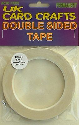 6mm X 33 Meters Double Sided Sticky Adhesive Tape Craft