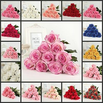 15/20/50 Head Real Touch Latex Rose Flowers wedding Bridal Bouquet Home Decor
