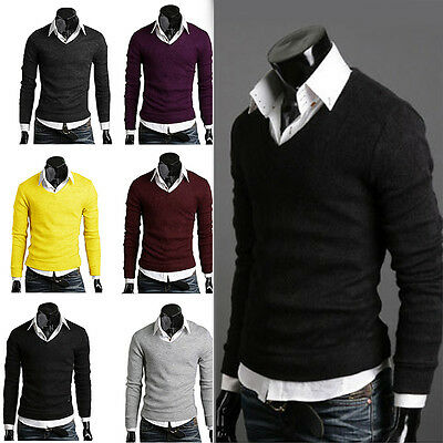 New Men Casual Slim Fit V-neck Knitted Cardigan Pullover Jumper Sweater Tops