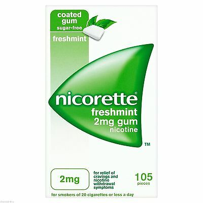 Nicorette 2mg Fresh Mint Gum For Relief of Cravings and Nicotine Withdrawal 105