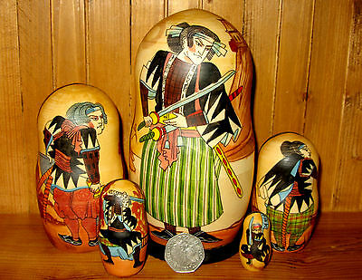 Russian nesting dolls 5 Japan Samurai Warriors Petrushina signed Matryoshka GIFT