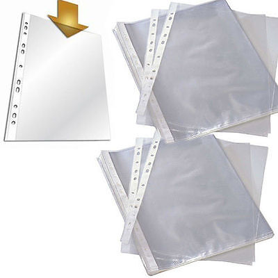 A4 Clear Plastic Punch Punched Pockets Folders Filing Wallets Sleeve Select Qty
