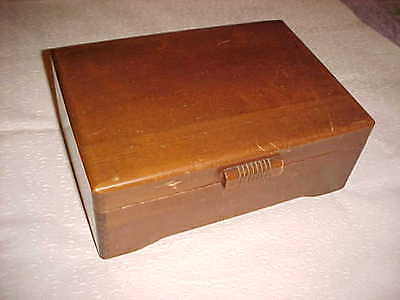 1950's VINTAGE LARGE WOOD DOVETAILED TRINKET BOX JEWELRY SEWING