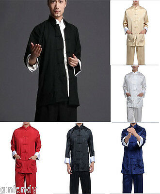 New Handsome Chinese Style Men's Kung Fu Suit Tai Chi Clothing SzM L XL XXL XXXL