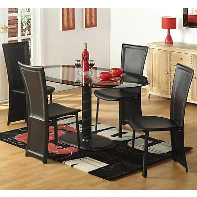 Modern Seconique Cameo Oval Black Clear Glass Dining Set Table and Chairs