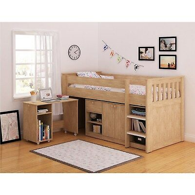 Seconique Merlin Oak Effect Sturdy Mid Sleeper Kids Bed Storage + Desk