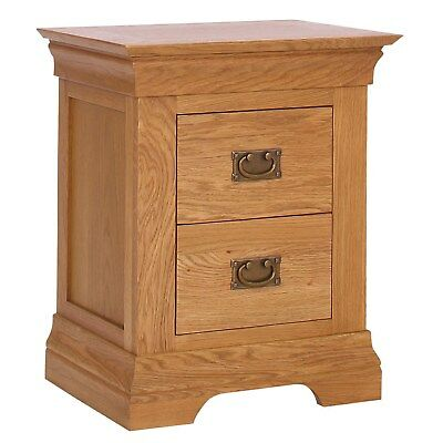Oak Bedside Table 2 Drawer Solid Wood Bedroom Nightstand Storage Cabinet