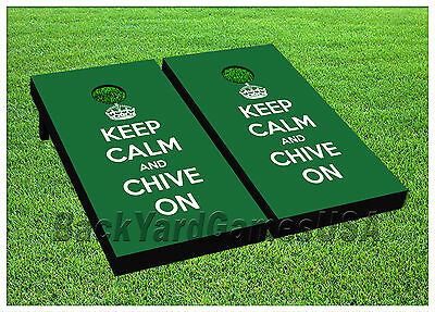 CORNHOLE BEANBAG TOSS GAME w Bags Game Boards Keep Calm and Chive On Set 965