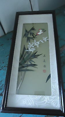 Vintage Oriental Framed Bird & Florial Picture Made with Feathers