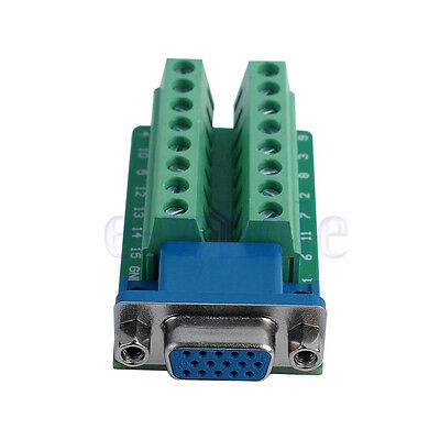 D-SUB DB15 Adapter VGA Female 3Row 15Pin To Terminal Breakout Board Connector TW