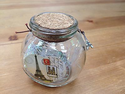 """New Origami Cricle Shaped Jar Glass Favor Bottle with Cork- 3"""""""