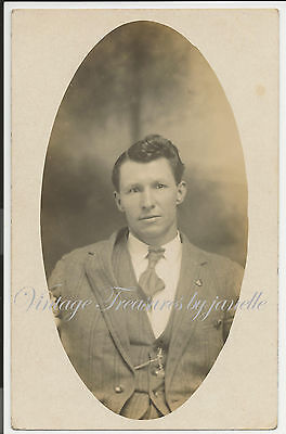 Antique Real Photo Postcard RPPC Man Great Hair Early 1900s Picture AZO pc5