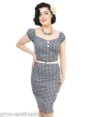 COLLECTIF UK DELORES Navy Gingham Pencil Dress Wiggle Rockabilly Pinup PLUS  SIZE