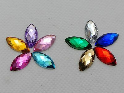 200 Mixed Color Acrylic Flatback Faceted Horse Eye Rhinestone Gem 7X15mm No Hole