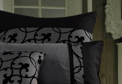 Lyde black charcoal grey Quilt Cover Set QUEEN / super king duvet Cover /OPTIONS