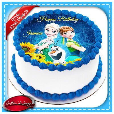 Frozen Fever Edible Cake Image Icing Anna Elsa Olaf Personalised Party Topper