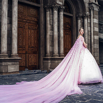 New Applique Wedding Dresses With Long Train Cloak Pageant Red Carpet Ball Gown