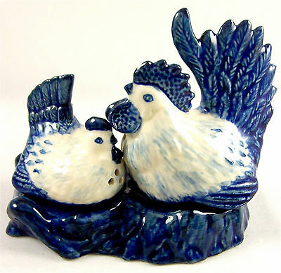 Chicken Hens on Nest - Ceramic Salt & Pepper Shakers - Blue & White