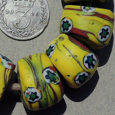 8 old antique venetian large round millefiori african trade beads #429