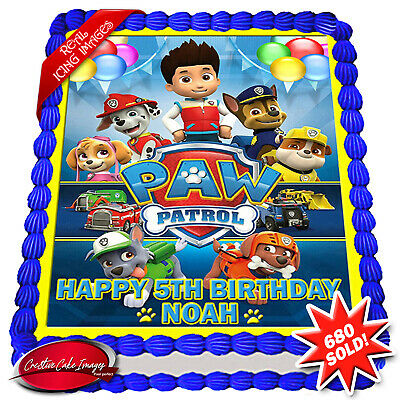 Paw Patrol Edible Icing Image Personalised Birthday Decoration Party Cake Topper