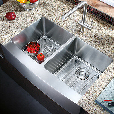 """33"""" Hand Made Stainless Steel Double Bowl Farmhouse Apron Kitchen Sink COMBO"""