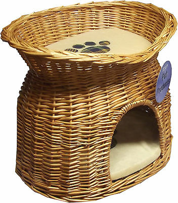 2 Tier Wicker Cat Bed Pet Pod Small Dogs Animal House Fleece Warm Cushion Basket